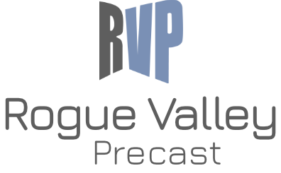 Rogue Valley Precast Logo vertical logo