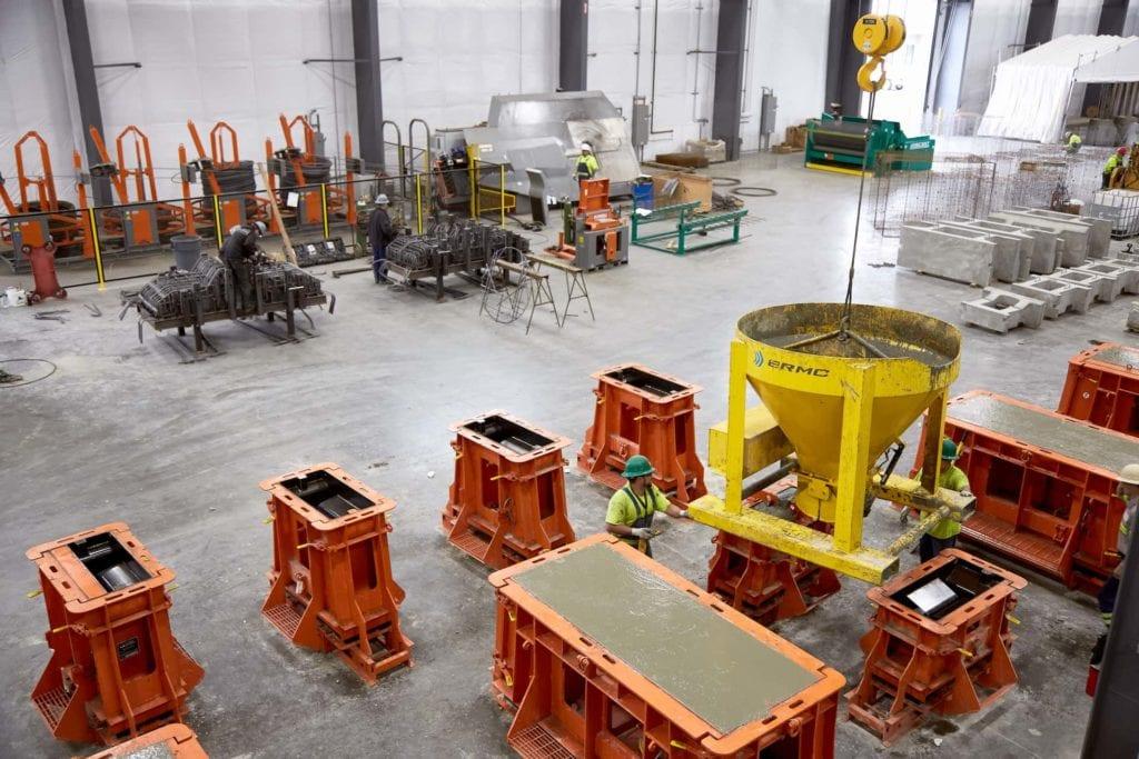 Inside a precast concrete facility